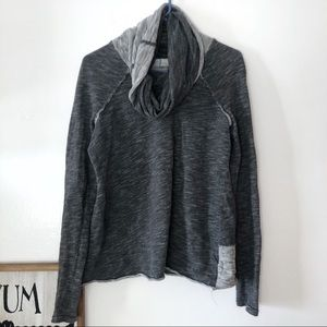 Free People Beach Gray Marled Cowl Neck Sweater